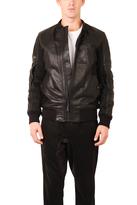 Helmut Lang Padded Leather & Mesh Bomber Jacket