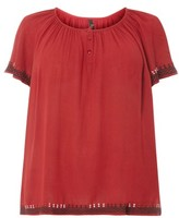 Evans Plus Size Women's Embroidered Peasant Top