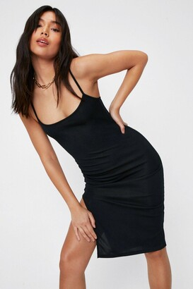 Nasty Gal Womens Square's No Going Back Slit Midi Dress - Black - 10