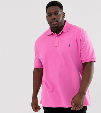 Big & Tall player logo pique polo in bright pink