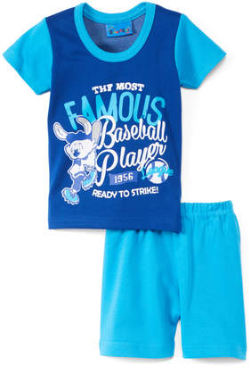 Sweet & Soft Boys' Casual Shorts Blue - Blue & Turquoise 'Famous Baseball Player' Bunny Tee & Shorts - Infant
