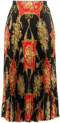 Gucci Pleated Silk Midi Skirt