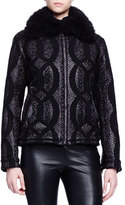 Lanvin Shearling Fur-Trimmed Cable-Jacquard Jacket