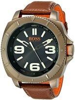 HUGO BOSS BOSS Orange Men's 1513164 Sao Paulo Gold-Tone Watch with Brown Leather Band