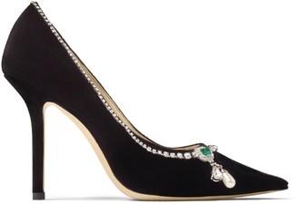 Jimmy Choo Love 100 Suede Pumps with Crystal Detail