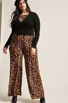 Forever 21 FOREVER 21+ Plus Size Leopard Print Palazzo Pants