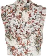 River Island Womens Pink floral print pleated bib crop top