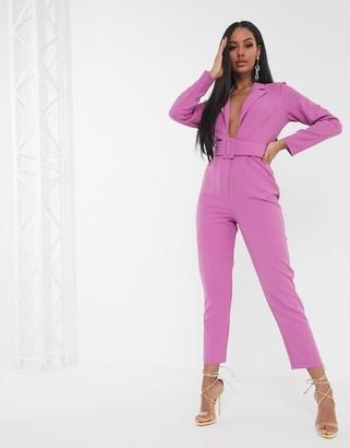 ASOS DESIGN minimal tux jumpsuit with self belt in purple