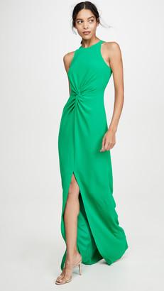 Halston Twist Drape Detail Crepe Gown