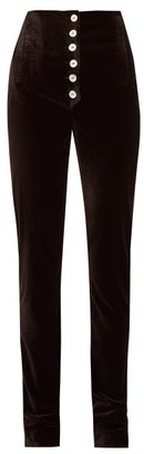 ÀCHEVAL PAMPA Palo High-rise Velvet Trousers - Womens - Black