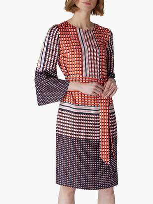 Jaeger Geometric Silk Flared Sleeve Dress, Red