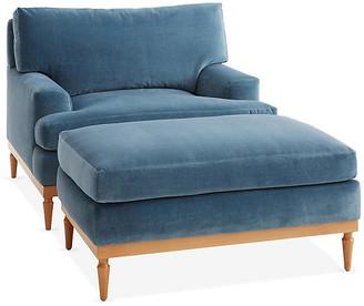 One Kings Lane Sutton Club Chair & Ottoman Set - Harbor Blue
