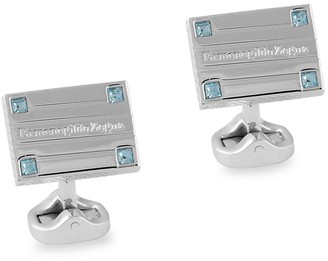 Ermenegildo Zegna Rectangle Rhodium-Plated Swarovski Crystal Cufflinks