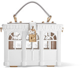 Dolce & Gabbana Leather-trimmed Painted Wood Clutch - White