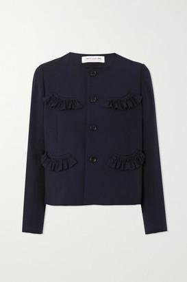COMME DES GARÇONS GIRL Cropped Ruffled Wool Jacket - Navy
