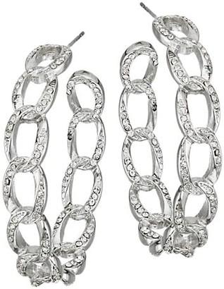 Kenneth Jay Lane Silvertone Crystal Link Hoop Earrings