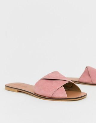 Asos Design DESIGN Favoured leather flat sandals-Pink