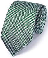 Charles Tyrwhitt Green Silk Classic Prince Of Wales Checkered Tie Size OSFA
