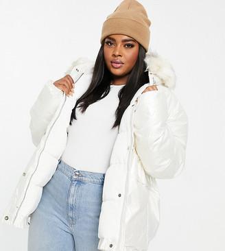 Sixth June Plus oversized vinyl puffer jacket with faux fur hood