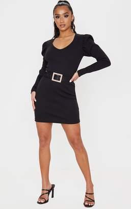 PrettyLittleThing Petite Black Heavy Rib V Neck Puff Sleeve Mini Dress
