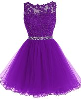 Cdress Beaded Applique Short Prom Homecoming Dresses Tulle Party Evening Gowns US