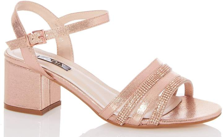 584114277f5 Womens *Quiz Wide Fit Rose Gold Shimmer High Heel Sandals