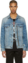 R 13 Blue Denim Distressed Zip Trucker Jacket