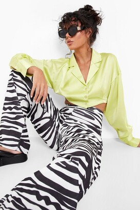 boohoo Zebra Print Wide Leg Pants