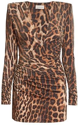 Alexandre Vauthier Deep V-neck Leopard Mini Dress