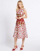 Marks and Spencer Rose Print Prom Skater Midi Dress