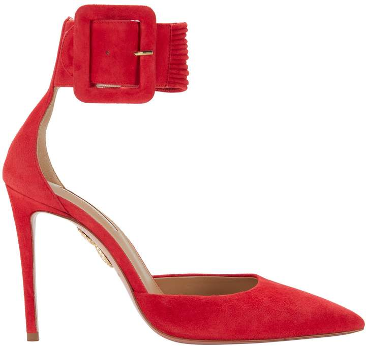 Aquazzura Red Ankle Strap Suede Pumps