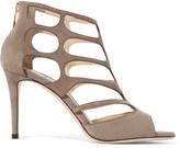 Jimmy Choo Ren Cutout Suede Sandals - Beige