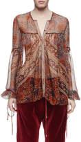 Chloé Bell-Sleeve Paisley Silk Blouse