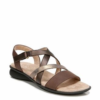Naturalizer SOUL Womens Jem Black Smooth Snake Strappy Sandals 6 W