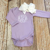 Etsy Monogrammed baby girl bodysuit and bow, personalized baby girl outfit, coming home outfit, newborn p
