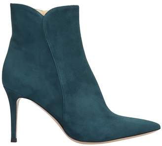 Fabio Rusconi High Heels Ankle Boots In Petroleum Suede