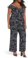 Tahari Plus Size Women's Off The Shoulder Paisley Chiffon Jumpsuit