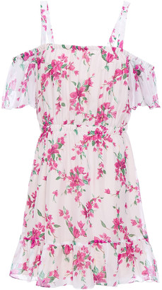 Rachel Zoe Cold-shoulder Gathered Floral-print Chiffon Mini Dress