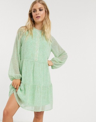 Only chiffon smock dress in mint ditsy floral