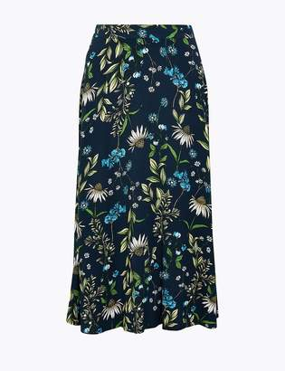 M&S CollectionMarks and Spencer Floral Print Fit & Flare Midi Skirt