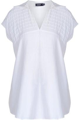 Gisy Metal Stripe Collar Silk Shir White