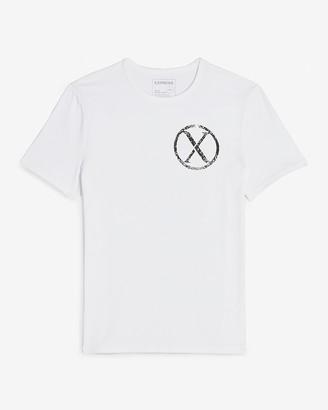 Express White Double Logo Moisture-Wicking Graphic T-Shirt