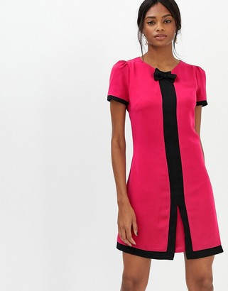 Paper Dolls short sleeve contrast trim detail dress-Pink