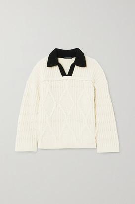 ALEXACHUNG Cable-knit Wool Sweater - Ecru