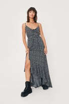 Thumbnail for your product : Nasty Gal Womens Spotty Print Button Down Maxi Slip Dress - Black - S