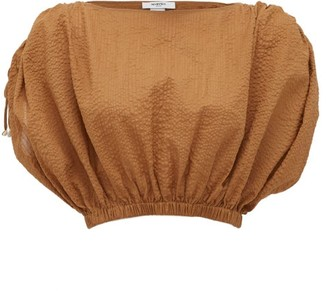 Marysia Swim Seashell Cotton-seersucker Cropped Top - Brown