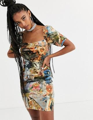 New Girl Order milk maid bodycon dress in renaissance print-Multi