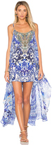 Camilla Mini Dress with Overlay in Blue. - size M (also in )
