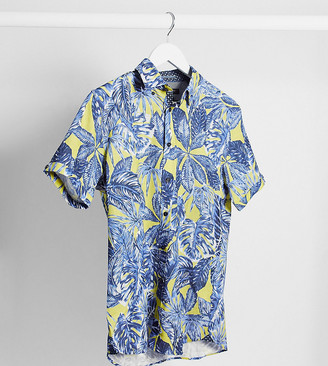 Ted Baker Tall palm leaf print short sleeve shirt in yellow
