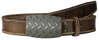 Ariat Diamond Plate Buckle Belt (Brown) Men's Belts